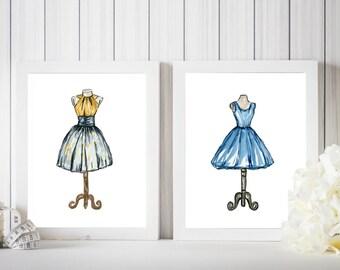 Dress Set Of Two, Dress Print, Dress Art, Watercolor Dresses, Watercolor Fashion Illustration, Fashion Print, Fashion Art, Fashion Wall Art