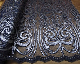 """ART NOUVEAU Damask NAVY Sequin Mesh Polyester Lace Large Fancy Elegant Apparel Wedding Prom Veil Fabric By the Yard 52"""" Wide"""