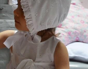 English embroidery christening bonnet