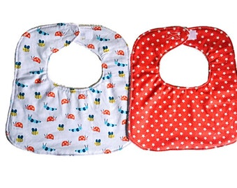Baby Bib Set, Baby Boy Bib, Garden Friends Infant Bibs, Baby Shower Gift, Baby Bibs Set of 2, Dribble Bibs