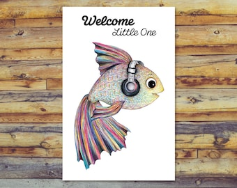 Printable Baby Shower Card, Cute Fish New Baby Card, Digital Download, Instant Download, Digital Card, Baby Boy, Baby Girl, Welcome New Baby