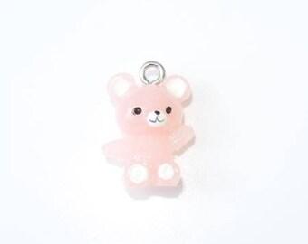 Pale pink resin Teddy bear charm translucent 20mm x 14mm