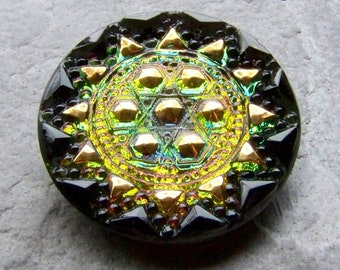 Vintage Button, Czech Glass Button, Nail Head Button, Sunburst, Hand Painted Button, Vitrail Button, Vintage Glass, Unique,  33mm, 1 Button