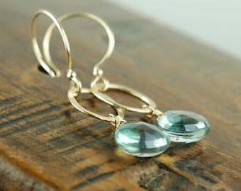Gold Circle Earrings with Green Quartz Gemstones / Dangle Stone Earrings / Stocking Stuffer / Green Stone Jewelry