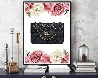 Chanel bag, Chanel bag print, Chanel black print, Coco Chanel print, Chanel illustration, Chanel art poster, Fashion girl print