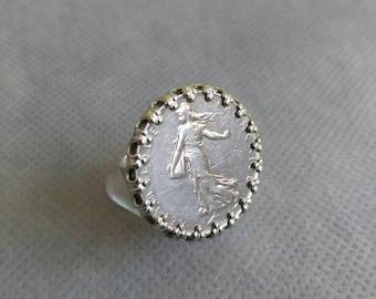 Recycling set 1 franc coin ring