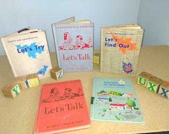 Lot Vintage School Readers Lot Primary Reader Science Books 1950s 1960s Retro Old School Homeschooling