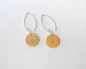 Personalized Hand Stamped Brass Initial Minimalist Metal Earrings Mixed Metal Everyday Style Nickle Free Angled Earwires