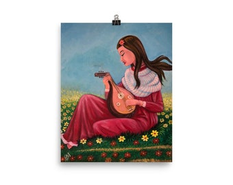 "Matte Print Museum Quality – ""Girl Playing the Mandolin"" -- Middle Eastern Art"