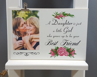 Daughter Gift Ideas from Mom, Personalised Picture Clip Wooden Plaque - Thoughtful Gift for your Daughter - PC42