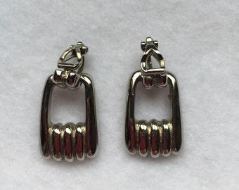 Silver Stirrup Clip-on Earrings