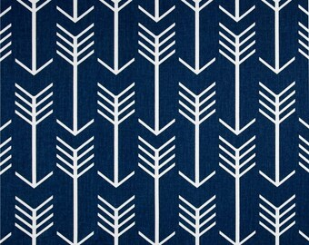 "Two  96"" x 50""  Custom Lined  Curtain Panels  - Arrows - Navy Blue"