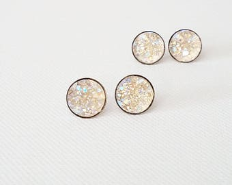 Druzy stud earrings Druzy bridesmaid earrings Druzy bridesmaid gift Druzy bridesmaid jewelry Bridesmaid gift druzy Champagne druzy earrings