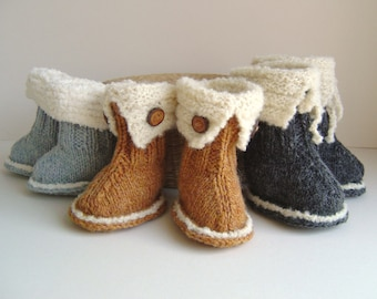 Knitting pattern Baby Booties quick and easy knitting tutorial for Snuggly uggs Booties pattern in 3 sizes PDF in