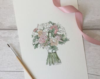 CUSTOM Wedding bouquet flowers illustration painting drawing sketch