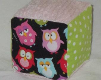 Sleepy Owls Fabric Block Rattle