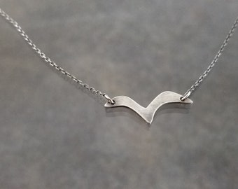 Bird mid flight necklace ~ hand cut, sterling silver, minimalist, simple, nature jewelry, graceful