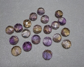 Gorgeous Ametrine, Amethyst, and Citrine Faceted Coin Beads 9mm - 10mm