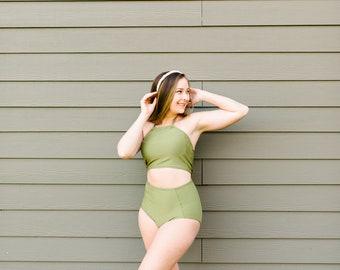 Custom Swimsuit Solid Color Swimwear Halter Top High Waist Bottoms Basic Swimwear - Choose Your Color -