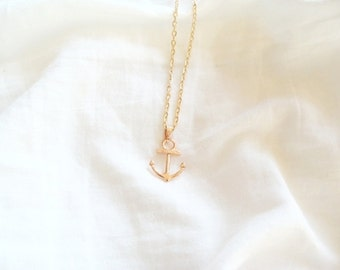 rose gold tiny anchor necklace - rose gold anchor necklace, rose Gold Tone Chain, anchor symbol,  fashion anchor necklace