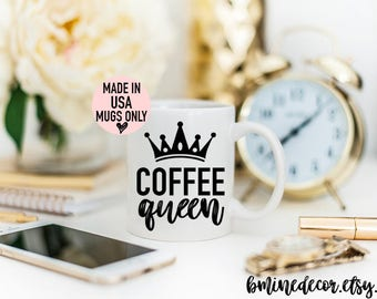 Coffee Queen, Coffee Queen GIft, Coffee Mug, Coffee Lover Gift,Caffeine Queen Coffee Mug, Gift for Her, Mug for Mom, Mug for Wife, Crown mug