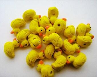10 Ceramic Animal Beads - Tiny Rubber Ducky - CB235