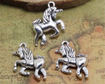 15pcs Unicorn Charms silver tone Unicorn Horse Charm Pendant 16x16mm ASD0486