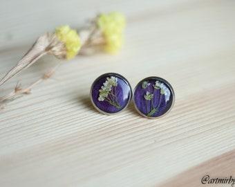 Tulip earrings Real pressed flower in resin Pressed flower jewelry Flower resin earrings Stud earrings Terrarium earrings Purple