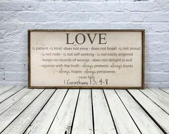 Love is patient love is kind, 1 Corinthians 13 sign, Bible Verse Corinthians, Faith Hope Love, Love Never Fails, barn wood sign