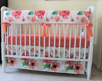 Floral Dreams Baby Bedding, Boho chic floral blanket, Floral crib sheet, Crib Sheet, Floral crib rail cover, Floral skirt, Baby Girl Bedding