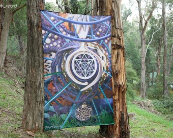 Wall Hanging,Tapestry,Banner,Visionary Art,Fabric,Photograph,Sublimation,Print,Light Wizard,Spiritual,Healing,Sacred Geometry, World Bridger