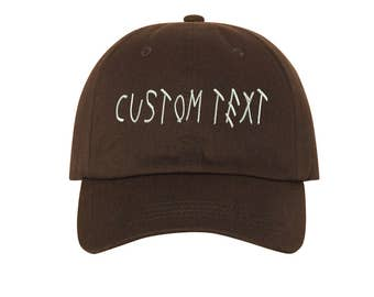 Custom Dad Hat Embroidered, DRIZZY FONT, Champagne Papi, Your text Here Personalized Custom Baseball Cap, Choose Your Text, Brown