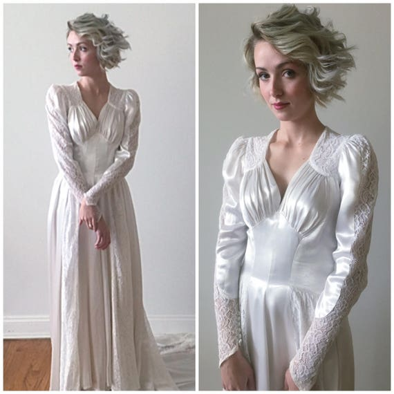 Vintage 1930s 40s Long Sleeved Satin and Lace Wedding Gown