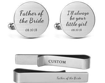 Father of the Bride Cufflink Engraved I Will Always Be Your Little Girl Dad father stepfather dad daddy Round Square Tie Clip Tacks Bar