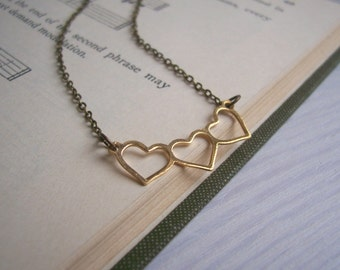 Gold Hearts charm necklace - dainty sweetheart row - gift for her - nickel free - SALE