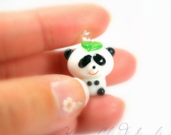 Lampwork Glass Panda Charm... Boy... 2pcs