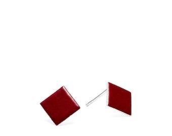 Diamond - Plum enamel earring studs