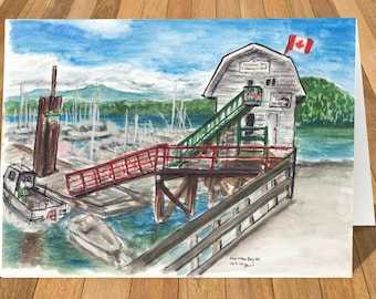 Art Card of Cowichan Bay, Vancouver island, BC Canada Watercolour Print