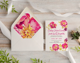 Watercolor Floral Calligraphy Wedding Invitation Suite, Custom, Traditional, Envelope Liner, Initials,  Made To Order,   Deposit