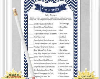 CELEBRITY Baby Name game with a classic navy chevron background, ANSWERS included, Instant Download diy PRINTABLE, 106BA