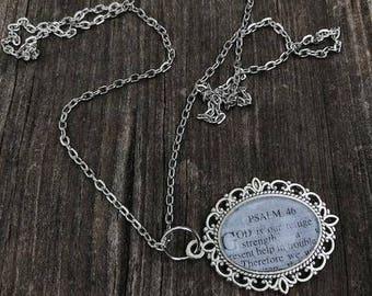 Scripture Necklace Psalms 46:1 Antique Silver