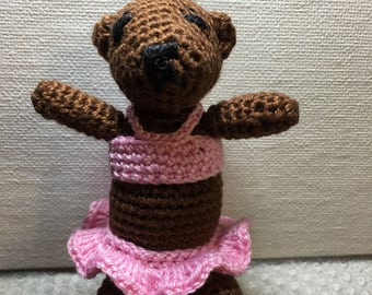 Mini Handmade Crocheted Teddy Bear;  Amigurumi Mini Bear; Crochet Teddy; Stuffed Animal; Crochet Tiny Teddy
