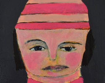 Acrylic Portrait Painting. Small Mixed Media Collage Art. Pink Winter Hat. Sister Gift for Her.