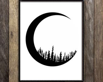 Moon Print, Forest Print, Pine Tree Art, Crescent Moon Print, Sketch Print, Woodland Wall Art, Astrology Gifts, Astronomy Gifts, Boho Decor