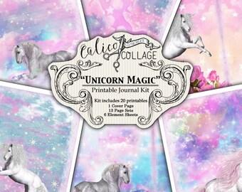 Imprimable, Pages de Journal de 5 x 7 Kit, licorne magique, Journal, Junk Journal Kit, Smash Book, Journal imprimable, fantaisie, Galaxy Licorne