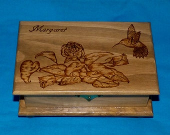 Decorative Rustic Wood Jewelry Box Wood Burned Box Wooden