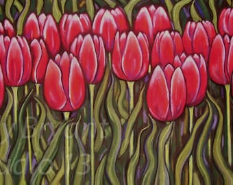 Tulips, Giclee print of original pastel painting
