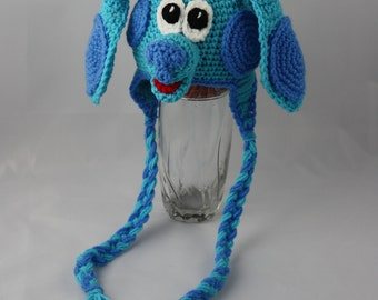 Blue Puppy Earflap Beanie - Any Colors - Any Size