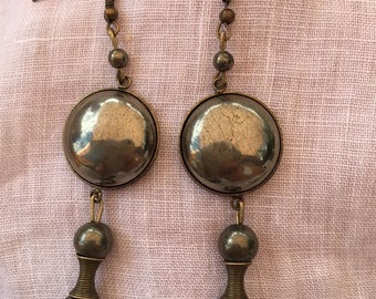 Gold bronze and natural pyrite earrings