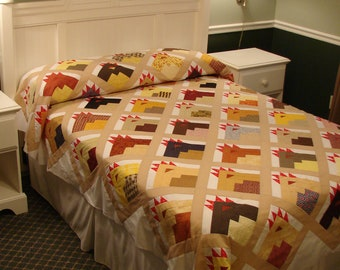 Oversize full/queen Whimical Chicken Coop quilt top